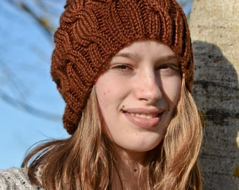 Brown Hand Knit Cabled Hat