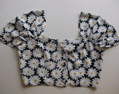 Safeena floral daisy coachella retro festival 60s style bustier crop top with princess sleeves