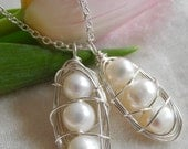 Three Peas in a Pod Pendant, 9-10mm White Cultured Freshwater Pearls, Chain Included