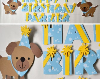 Puppy Dog Birthday Party Banner - Puppy Baby Shower Party Decorations - CUSTOM Name/Age (20 letters)
