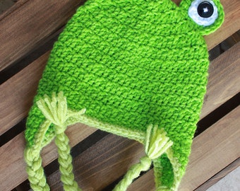 Crochet Frog Bright Green Beanie with Braids
