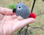 Parrot Ornament - African Grey Parrot - Felted Christmas Ornament - Felted Bird