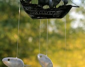 Pirate ship sailing spoon fish wind chime
