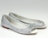 Flat Wedding Shoes- Open Toes-  Silk Flat Bridal Shoes with Austrian crystals- Halle