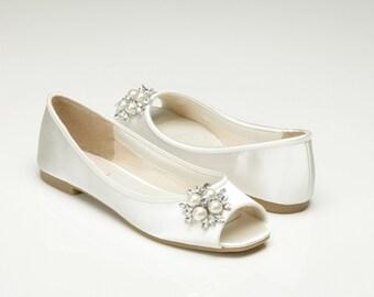 Custom Color - Wedding Shoes, Bridal Shoes, Custom Colors, Flat Peep Toe, Bridal Shoes, Princess Wedding Shoes, Pink2Blue Wedding Shoes