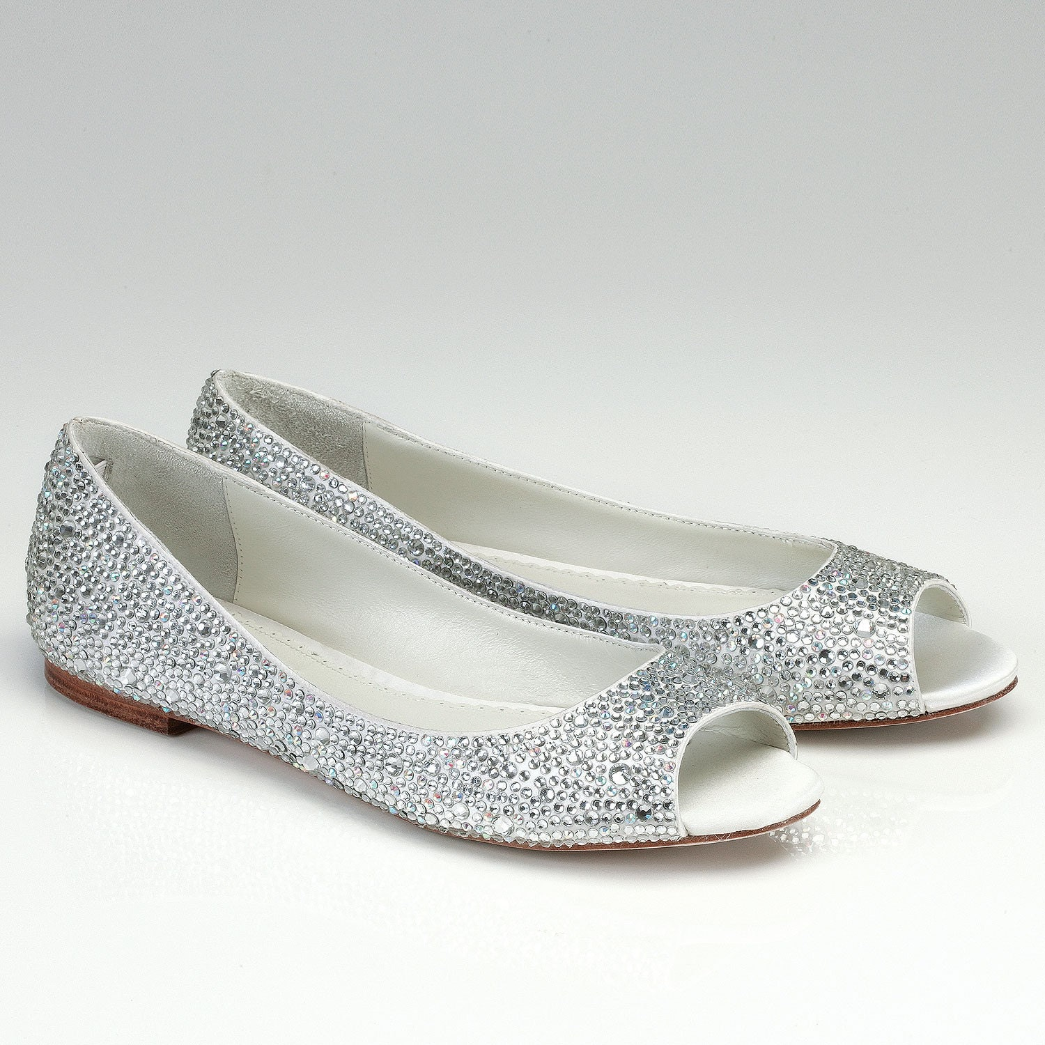Bridal Shoes Silver: Flat Wedding Shoes Open Toes Silk Flat Bridal Shoes With