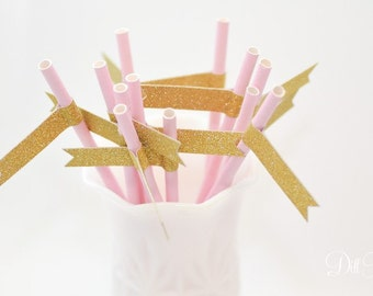 Pink Paper Straws with Gold Glitter Flags - 25 count