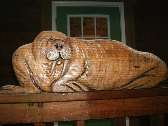 Walrus chainsaw wood sealed carving home wall by