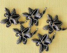 4 Fairy Charms Antique Bronze Tone Angel with Wings - BC347
