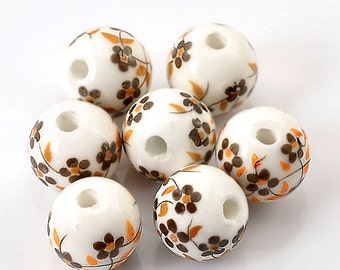 10 Ceramic Beads 12mm - Earthy Brown and White Floral Pattern - BD152