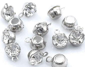 25 Mini Rhinestone Pendants Set in Metal Finding - SC2035