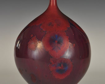 Red and Blue Crystalline Glaze Bottle