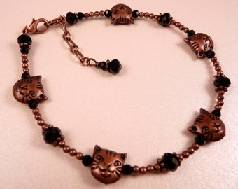Cat Anklet Beaded Anklet Beaded Jewelry Copper Jewelry Ankle Bracelet Animal Jewelry Brass Anklet Brass Jewelry Crystal Jewelry