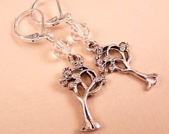 Tree Earrings Silver Tree Earrings Beaded Jewelry Beaded Earrings Silver Jewelry Tree Jewelry Crystal Earrings Crystal Jewelry