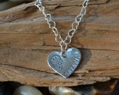 Heart Charm & Chain Necklace - Personalized - Sterling Silver - Girls Charm, Girls Birthday Gift, Bat-Mitzvah Gift, Baby Name Necklace