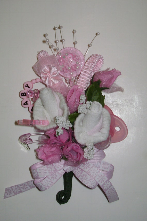 baby shower corsage baby girl bootie corsage new mom pink corsage