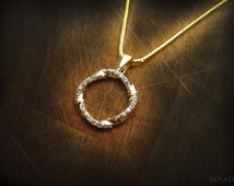 Sale - Infinity mobius pendant - 14k yellow gold & natural diamonds - new infinity knot pendant - loop - 0.42 carat