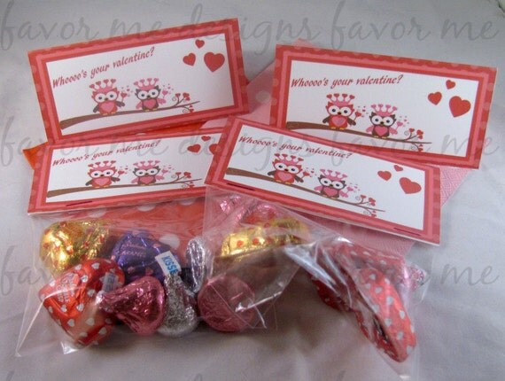 DIY Printable Valentine Treat Bag Topper featuring cute owls out on a limb