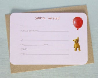 Floating Teddy Bear with Red Balloon Invite - with envelopes