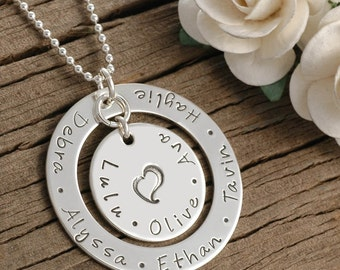 Hand Stamped Necklace, Large Family Personalized Mother's Jewelry -  For Mom or Grandma - Sterling Silver