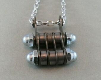 cycling jewelry, bicycle chain hardware necklace bike jewelry, fixie necklace, bmx gift, mtb accessory, road bike present
