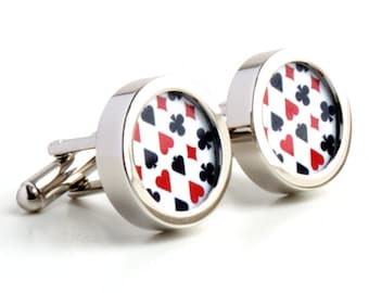 Playing Card Cufflinks - Black and Red Pattern of Hearts, Clubs, Diamonds and Spades