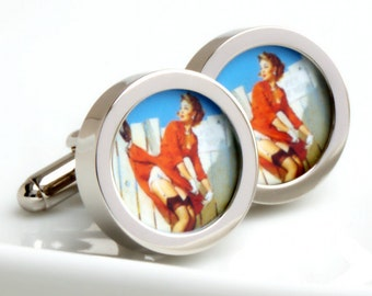 Vintage Pin Up Cufflinks of Woman in a Red Dress