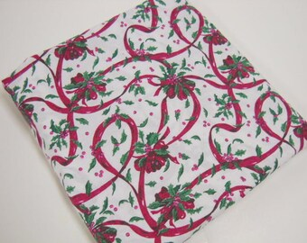 Holly and Ribbons Holiday Print Fabric, Christmas Craft Supplies, Sewing Notions, 7/8 Yd Remnant, Burgundy, Green