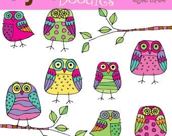 KPM bright owls digital clipart