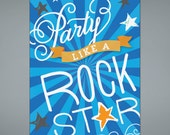 Rock Star Birthday Invitation - Printable