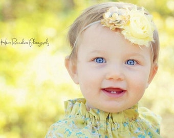 Vintage Collection Shabby Yellow Headband  (Newborn, Toddler, Child)