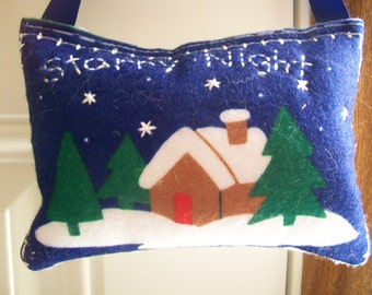 SALE - Door Knob Hanger - Starry Night Winter Snow Scene