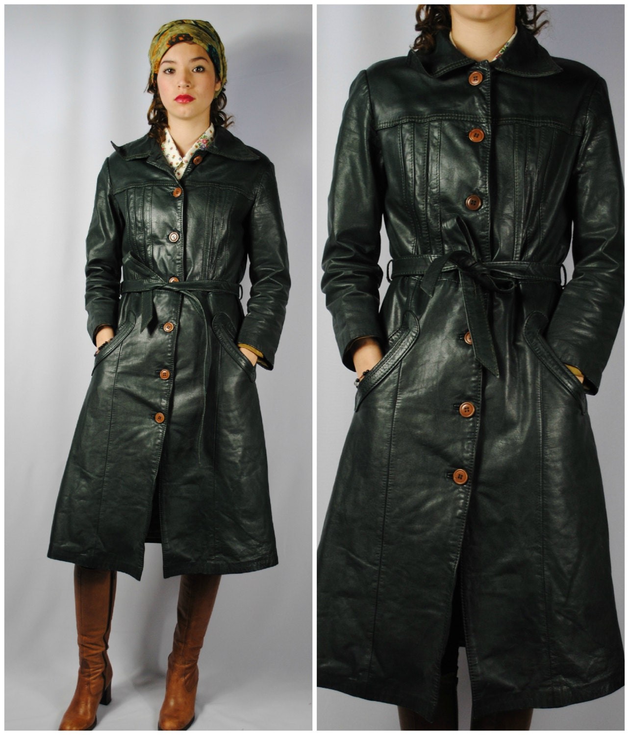 Vintage 70s Folk GREEN Leather TRENCH COAT. small/medium