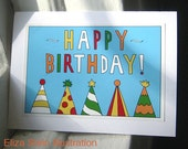Happy Birthday Card, Colorful, Bright, Blue, Blank Bday Greeting Card