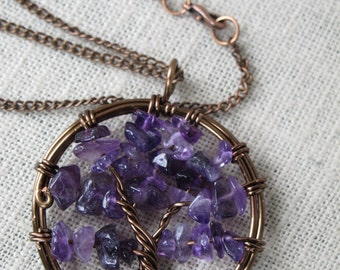 Tree of Life Pendant - Amethyst