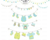 Baby laundry line clip art , baby boy announcement card element