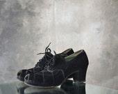 1940s Black Suede Peep Toe Heels