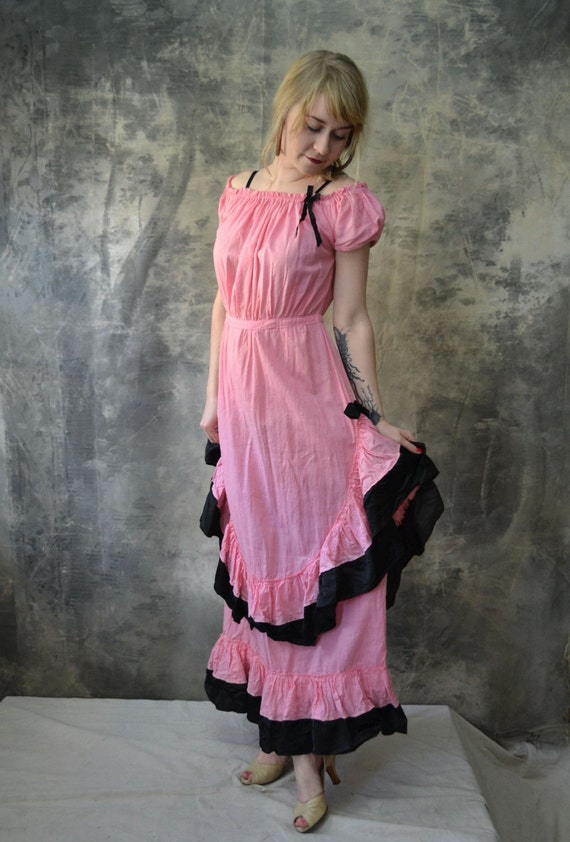 1930s Pink Ruffled Gown Theatrical Costume
