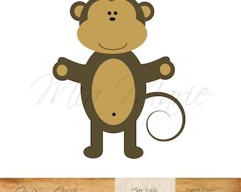 INSTANT DOWNLOAD - Digital Clip Art - Monkey clipart, Monkey clip art, zoo clip art, safari, animal, baby printable
