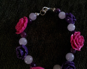 7 1/4 inch Pink and Purple Flower Bracelet
