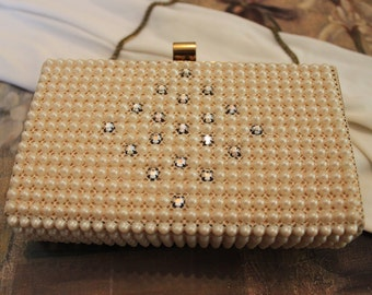 Handbag, Evening Bag, Purse, Pearl Bag, Vintage Box Style Evening Bag, Hard Sided Purse, Pearls with Crystals, Wedding, Prom, Formal