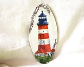 Red lighthouse nautical decoupage home decor, wall, cozy, housewarming, sea, cream, kitchen, vintage, man cave