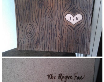 Frameable Leather Art - Faux Bois Wood Grain Sweetheart Initials Carved into A Tree - Wedding Gift, Anniversary Gift