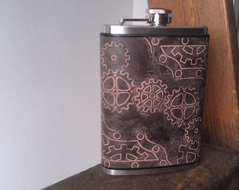 Steampunk Flask Leather Flask - Gears and Nuts and Bolts, oh my