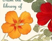 Nasturtiums - Beautiful Flowers- ADHESIVE Bookplates - Personalized Bookplates - Vintage Art - STICKERS- Lovely Gift
