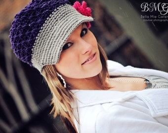 Ladies Flower Newsgirl Newsboy Crochet Hat in Purple and Gray with a Raspberry Flower Clip Rose all sizes available