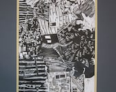 Original Black and White Woodcut - 1984 Limited Edition - Broadway by Nancy Prowell