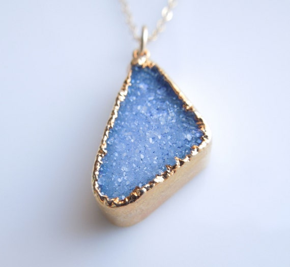 Raw Quartz Druzy Necklace in Brilliant Blue - Something Blue Necklace