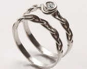 Braided Wedding Ring Set 3 - 14K White Gold and Diamond engagement ring, engagement ring, wedding band, stackable rings, celtic ring