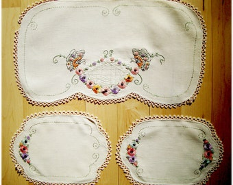 Vintage Hand Embroidered Butterflies and Flowers Crocheted Lace Three Piece Linen Dresser Set Pink, Lavendar, Gold